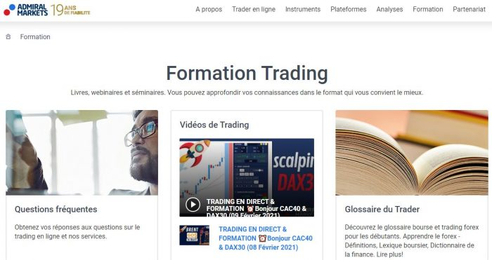 Formation bourse Admiral Markets